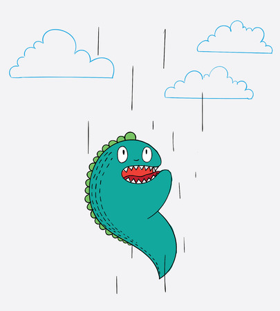 The monster fell from the sky. He thinks he must be dead.Cartoon animals the cute monster vector character design