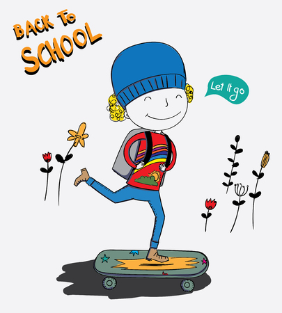 The boy was skateboarding and the boy was very happy to go to school the first day. Illustration
