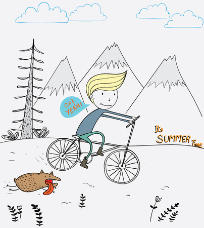 A boy riding a bicycle with a dog friend running around a mountain during a summer vacation.