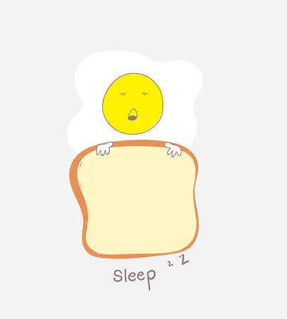彼は毛布としてパンとかわいい卵が眠っています。
