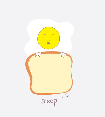 The cute egg is sleeping with the bread that he took as a blanket. Illustration
