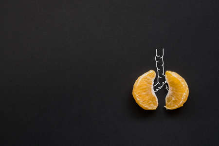 creative idea.A health concept of unhealthy human lungs of a smoker with lung cancer in dark shadows, made of mandarin segments.Normal lung and lung cancer. Stock Photo