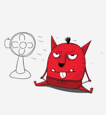 The red monster is angry and angry,He gets better after he has cooled himself Illustration