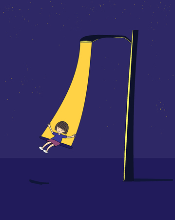 Lovely girl, she is swinging at night.An electric pole with a girl and a star with sky full of loneliness