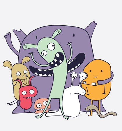 Hilarious friends are partying in the holiday season.Cartoon animals the cute monster vector character design