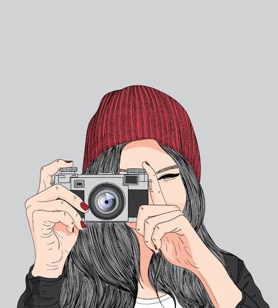 Lovely girl,Girl holding a film camera.Doodle art concept,illustration painting