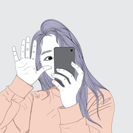 Purple hair woman holding a mobile camera taking self-portrait.She is taking photos in her daily life