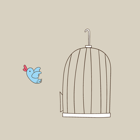 Little bird flying from the bird cage demonstrates the freedom.Birds fly out of the cage after a long time