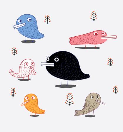 A set of birds are on the album. Cute bird in vector theme