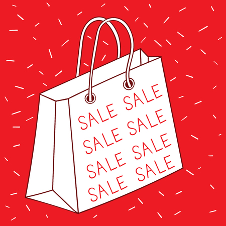 Sketches, large shopping bags written on the front,reduce the price.Make shoppers happy and want to buy in the holiday season