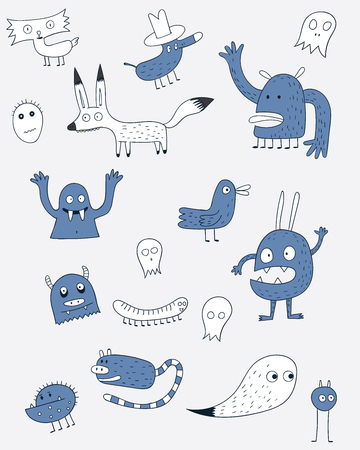 Set of monsters all types are piling against the world.There are both chicken foxes. Blue animal Illustration