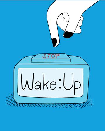 Doodle Art Hand Paintings and Clocks. Dieses Mädchen ist wach und er ist faul, morgens aufzuwachen. Sie wird die Uhr leise anhalten