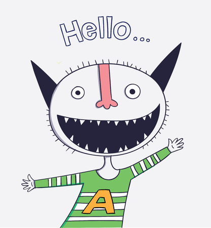 He was greeting good waving hands with a smile in the middle.Cartoon animals the cute monster vector character design