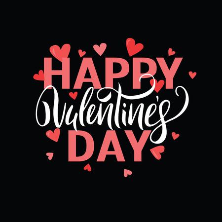 Illustrazione vettoriale. Scritto a mano elegante e moderno lettering pennello di Happy Valentines Day con cuori su sfondo nero. Vettoriali