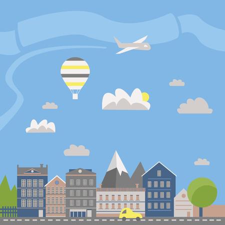 Moderne Vektorillustration der Stadtlandschaft. Flache Stadt. Reihe von Gebäuden. Kreativer Hintergrund. Panorama Vektorgrafik