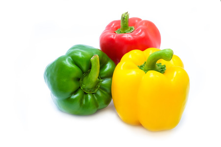 peppery: Colors of Paprika or bell peppers, isolated on a white background