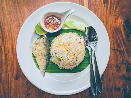 indo: Stir fried mackerel with egg and rice Stock Photo