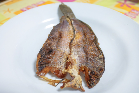 Fried Dried Fish In a white plate