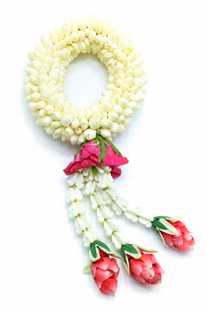 Jasmine garland, isolated on a white background