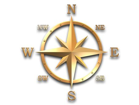 3d generated wind rose in gold metal with soft shadow and clipping path Banco de Imagens