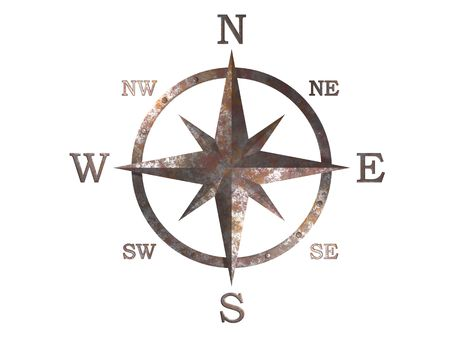 3D generated compass, wind rose out of rusty weathered copper material with clipping path Banco de Imagens