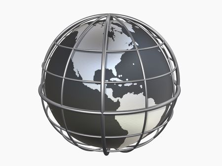 3d model of globe with clipping path, north and south america
