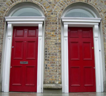 Symmetrycal red doors in Dublin, Ireland
