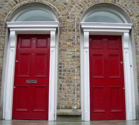 Symmetrycal red doors in Dublin, Ireland Stock Photo - 867222