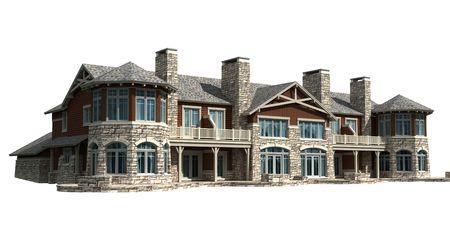 マンション、白で隔離される家の 3 d モデル