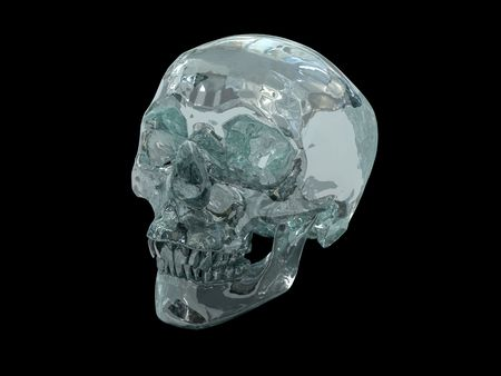 3D model of a human Crystal Skull, claimed to be of pre-Colombian Mesoamerican origin on black background