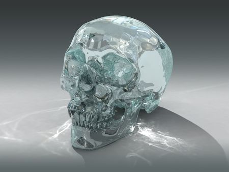 psychic: 3D model of a human Crystal Skull, claimed to be of pre-Colombian Mesoamerican origin Stock Photo