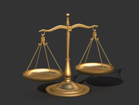 3d Model of gold balance the symbolic scales of justice  photo