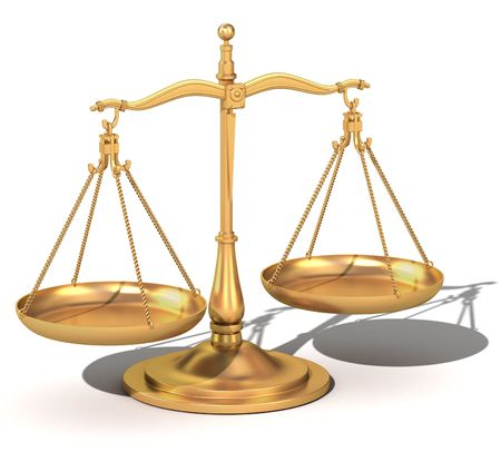 3d Model of a gold balance the symbolic scales of justice  Stock Photo