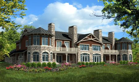 Condominium house with stone and brown siding
