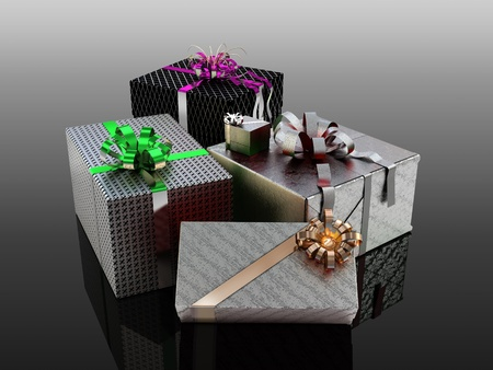 Birthday or Christmas presents in colorful wrapping paper