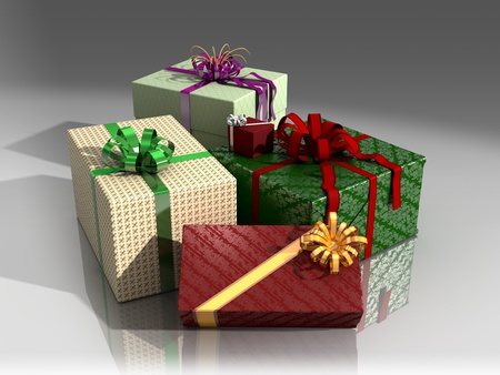 Christmas presents in colorful wrapping paper and bows