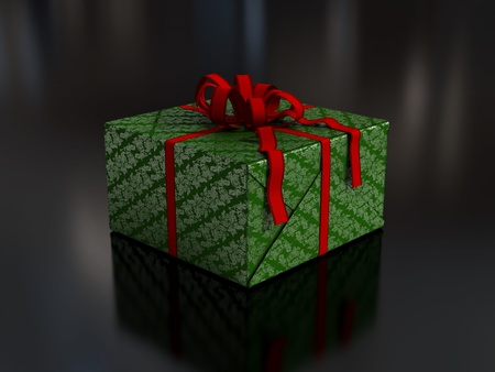 Christmas present in colorful wrapping paper and bows
