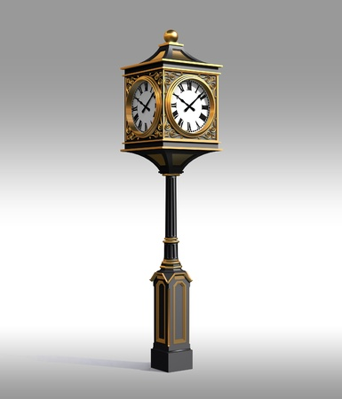 3D Model of bronze classic street clock with work clipping path