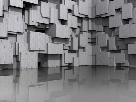 3D Modeled website background, with washed concrete cubic blocks reflected in shiny floor  Banco de Imagens