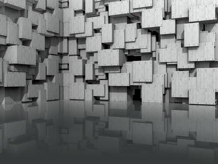 3 D モデルのウェブサイト背景、洗浄コンクリートの立方ブロックで光沢のある床に反映 写真素材 - 8668942
