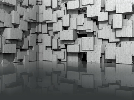 3D Modeled website background, with washed concrete cubic blocks reflected in shiny floor  Stockfoto