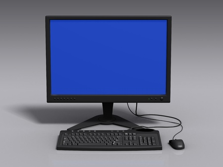Front view of black 3d model of keyboard, monitor and mouse, with blue-screen error