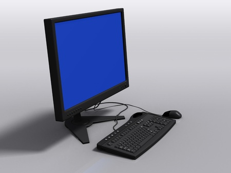 Front view of black 3d model of keyboard, monitor and mouse, with blue-screen error Stock Photo - 8668888