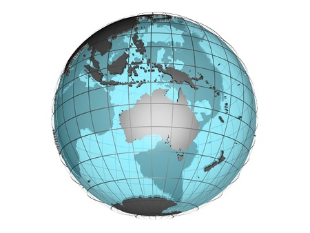 3D model of globe map showing Australian and Oceania continent Stock Photo