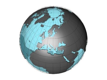 ヨーロッパ大陸を示す世界地図の 3 D モデル 写真素材