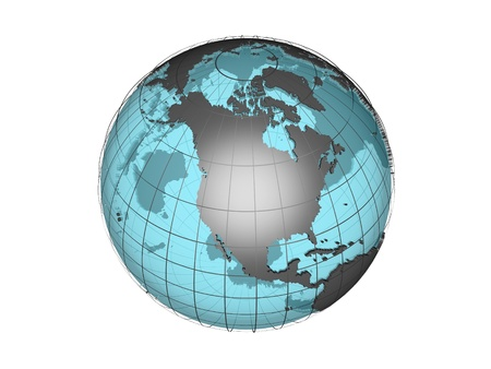 3D model of globe with North American continent