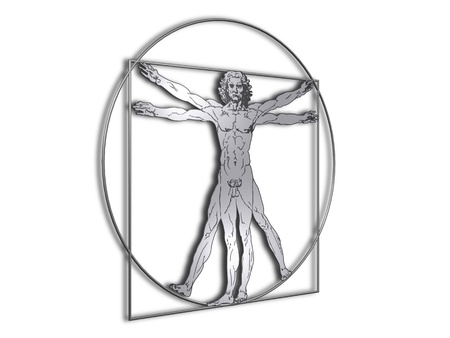 Leonardo Davinci the vitruvian man in steel or metal