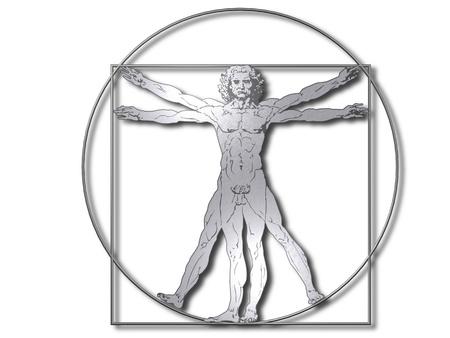 Leonardo Davinci the vitruvian man in steel or metal