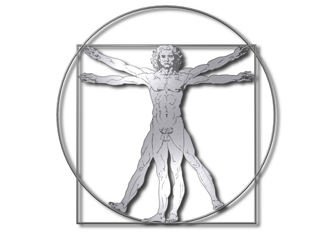 Leonardo Davinci the vitruvian man in steel or metal Stock Photo - 8668893