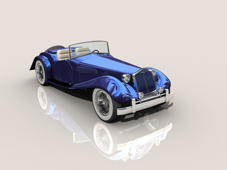 Shiny old Hot Rod 3D model of vintage blue car  photo